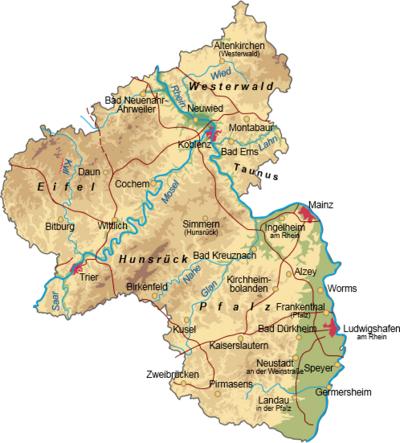 übersichtskarte Rheinland Pfalz